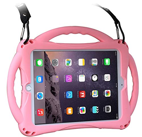 Kids Case for iPad 9.7'and iPad Air1/2, TopEsct Shockproof Silicone Handle Stand Case Compatible with iPad 6th/5th 9.7inch(2017&2018 Version), iPad Air, iPad Air 2 and iPad Pro 9.7(iPad 9.7, Pink)