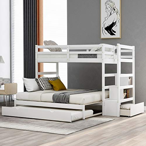 Merax Twin Over Twin/King Bunk Bed with Trundle, Twin Size Extended Bunk Bed Frame for Kids/Teens/Adults (Twin Over Twin/King with Trundle, White)