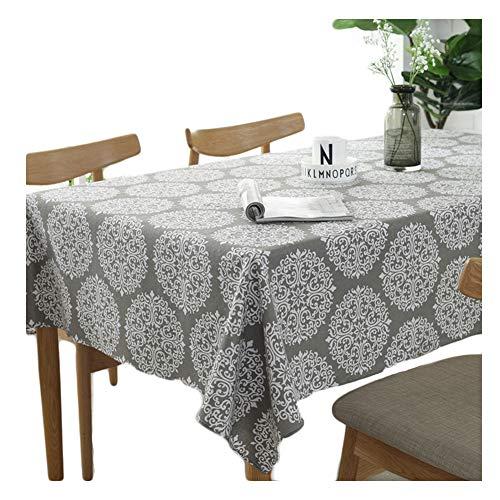 meioro Grey Retro Tischdecke Rechteckige Tischdecken Baumwolle Leinen Tischtuch Geeignet für Home Küche Dekoration Tischtuch Tischwäsche, Verschiedene Größen(140 x 250 cm)