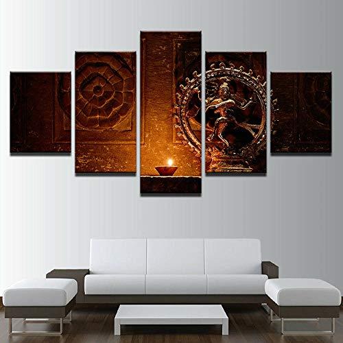 5 Stück Gemälde Wand Kunst Wohnzimmer Poster Modern Hindu-Gott Tanzt Shiva Nataraja Statue 5 Panel Hd-Druck Moderne Modulare Kinderzimmerdekoration Neujahrsgeschenk