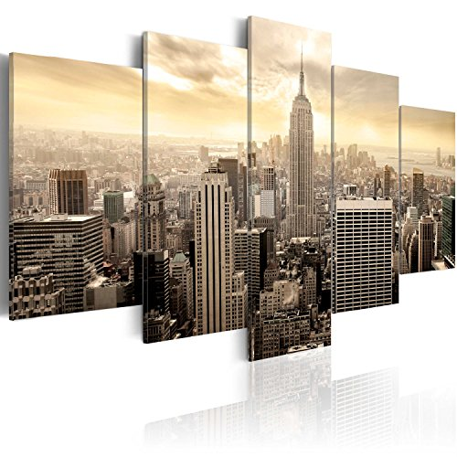 murando Cuadro en Lienzo 200x100 cm Impresión de 5 Piezas Material Tejido no Tejido Impresión Artística Imagen Gráfica Decoracion de Pared Ciudad NY New York Nueva York d-B-0006-b-m