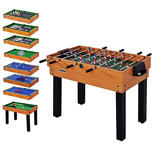 WIN.MAX WinMax Multifunktionsspieltisch, Tischkicker inkl. 12 Verschiedene Spiele, 106.7x61x81.3 cm Tischfußball, Kickertisch, Billardtisch, Tischtennis, Air Hockey und mehr (12 In 1)