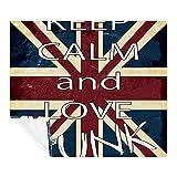 Manta decorativa de forro polar con la bandera del Reino Unido, con texto en inglés «Keep Calm and Love», suave y acogedora, cálida, perfecta para sofá de cama, 149,8 x 199,9 cm