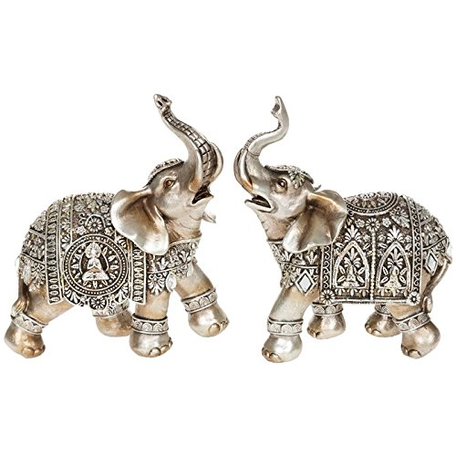 Set di due statuette ornamentali in argento a forma di elefante di Buddha, misura media, 14 cm
