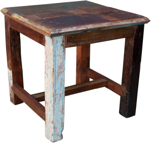Guru-Shop Table D'appoint, Table Basse Ofrecycle Bois (JH0-149), Teck, 52x55x55 cm, Tables Basses