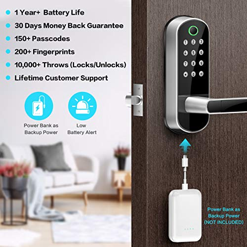 Sifely Key   less Entry Door Lock, Keypad Door Lock, Keyless Door Lock, Fingerprint Door Lock, Biometric Door Lock, Keypad Entry Door Lock, Passcode Code Door Lock, Digital Smart Door Lock (Smart Lock)