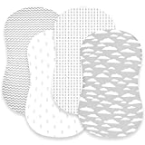 Bassinet Bed Sheets – Premium Bassinet Fitted Sheets 4 Pack – 100% Jersey Knit Cotton Cradle Sheets – Bassinet Bedding for Standard Size Oval or Halo Bassinet Pads – Bassinet Sheet for Boy & Girl