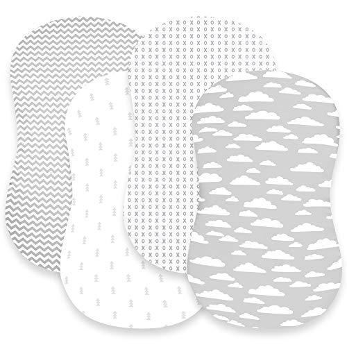 BaeBae Goods Lot de 3 draps-housses pour matelas et coussinets de bassinet, jersey super doux en coton tricoté de jersey - 150 g/m² - Collection « au-dessus des nuages »