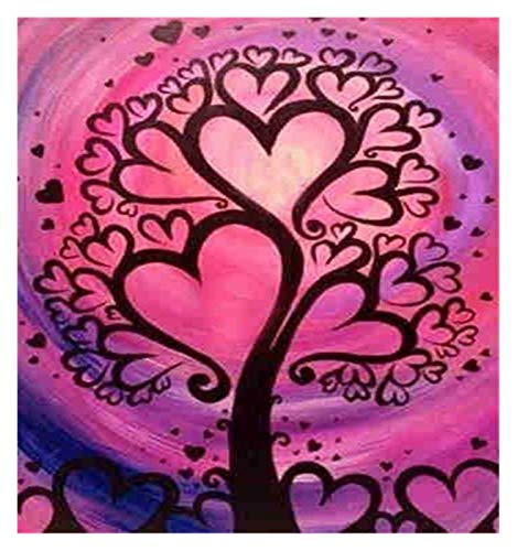 DIY 5D Diamond Painting Kit for Adults Children Full Drill Round Kits Rhinestone Pasted Embroidery Cross Stitch Arts Craft Home Wall Decor, Colorful Shells (Color : Red Heart Tree)