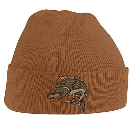 Bang Tidy Clothing Carp Fishing Angling Hobbie Winter Fathers day Embroidered Beanie Hat Logo Men's - Caramel
