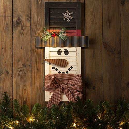 Glitzhome Farmhouse Christmas Decor Wood Christmas Ornaments 21.85 Inches Wooden Snowman Decoration Country Christmas Table Centerpiece Welcome Christmas Sign Wall Hanging Decoration