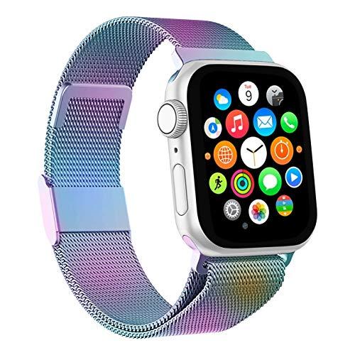 Mediatech Ersatzarmband Kompatibel mit Apple Watch Armband 38mm 40mm 42mm 44mm Edelstahl-Armband, Wechselarmband mit Magnetverschluss kompatibel mit iWatch Series 6/5/4/3/2/1 SE (38mm/40mm, Bunt)