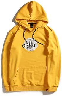Men's hooded sweater, fleece warm contrast color printed kangaroo pocket sweater pullover sweatshirt