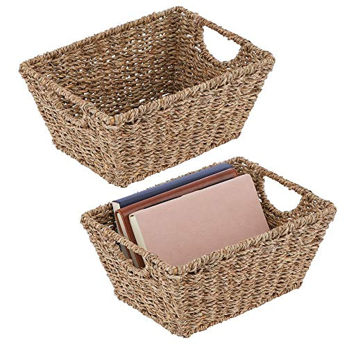 mDesign Set of 2 Wicker Storage Baskets with Handles – Foldable Seagrass Storage Baskets for Household Items – Wicker Baskets for The Living Room, Bathroom or Hallway – Light Brown