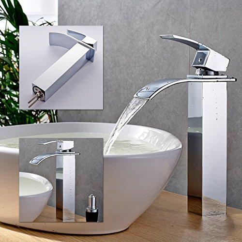 Inchant moderna encimera baño cascada grifo del fregadero alto cuerpo de latón cromado monomando grifos de la bañera del grifo del lavabo de mezclador del grifo del baño mueble para baño