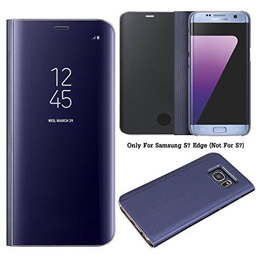 Guran® Mirror Efecto Espejo Funda para Samsung Galaxy S7 Edge Clear View Función de Soporte Plegable Smartphone Funda Protectora (Púrpura)
