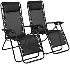 Naomi Home Zero Gravity Chairs, Lounge Patio Outdoor Recliner Chairs Black/Set of 2