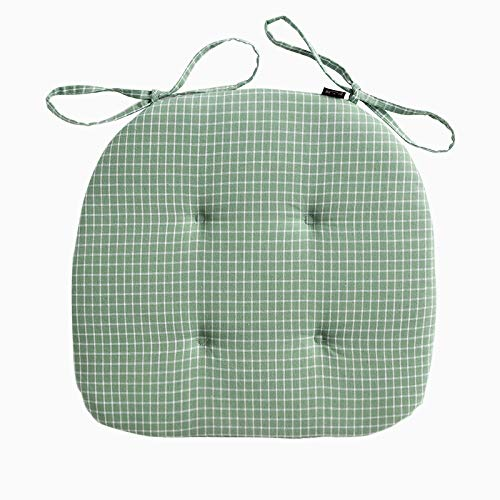 Mkuha Chair Seat Pads Cushion With Ties, Quilted Design, D-Shaped, Sponge Chair Pads for Garden Patio Kitchen Dining 42x40x2cm,Green