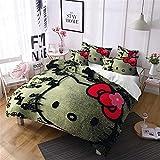 Goplnma Hellokitty - Juego de cama infantil (funda nórdica de 135 x 200 cm y funda de almohada de microfibra)