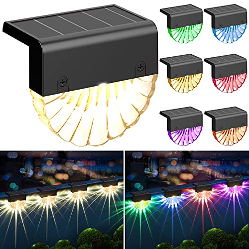 Solar Deck Light,Waterproof Step Stair Light,Outdoor Garden Decorative Fence LED Light with Color Changing/Warm White,6 Pack Solar Powered Exterior Post Light Dust to Dawn for Patio Porch Railing