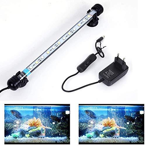 SolarNovo 18-112cm LED Aquarium-Licht Unterwasser BeleuchtungAufsatzleuchte Abdeckung Wasserdicht Lampe Stecker EU für Fisch Tank mit Fernbedienung RGB Farbwechsel (1.8 * 28cm, Weiß & Blau)