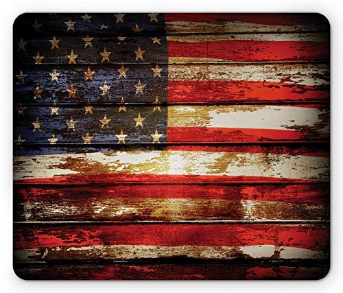 Hokdny Alfombrilla de ratón con Bandera Estadounidense Us Over Old Rusty Tones Weathered Vintage Social Plank Obra de Arte Rectángulo Alfombrilla de Goma Antideslizante Tamaño estándar Rojo Azul