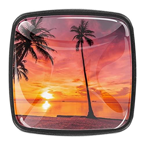 (4 piezas) pomos de cajón para cajones, tiradores de cristal para gabinete con tornillos para armario, hogar, oficina, armario, puesta del sol, playa tropical, palmera de 35 mm