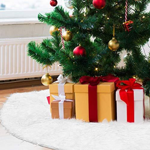 PERFETSELL Gonna per Albero di Natale 78 cm, Tappeto Albero di Natale, Tappetino per Coprire Base Albero Gonna Albero di Natale Pelliccia Bianca per Feste di Natale Ornamento