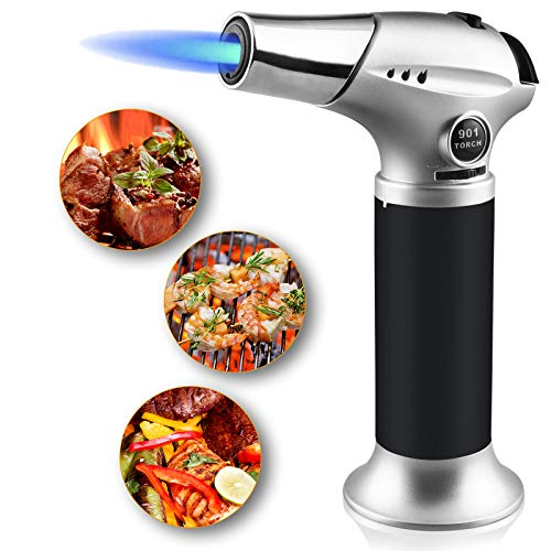 Semlos Butane Torch , Culinary Kitchen Torch Refillable Blow Torch Lighter with Safety Lock&Adjustable Flame for Cooking, BBQ, Creme Brulee, Soldering, DIY&Crafts (Butane Gas not Included)