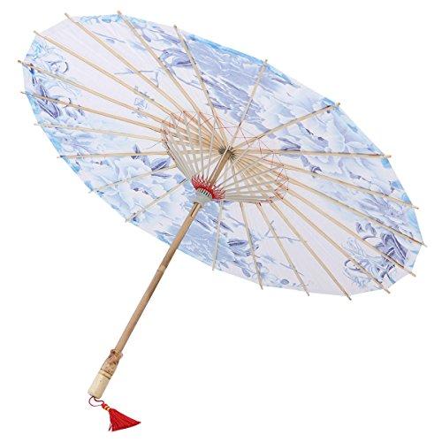 Healifty Paraguas de Papel del Aceite Clásico de Chino Paraguas de Encaje con Mango de Bambú con Estilo Chino Sombrilla de Papel de Danza Decoración de Boda Casa Accesario de Tomar Foto