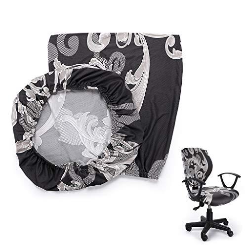 BTSKY - Fodera per sedia da ufficio in stile semplice ed elastico, rimovibile e flessibile, girevole, per sedia da computer, sedia senza sedia (fiore nero)