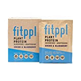 fitppl Plant Protein Superfood + Adaptogens (Cocoa & Blueberry) | Organic Ingredients, Stevia-Free, Gluten-Free, Vegan, Non-GMO, All Natural, Eco-Friendly Protein Powder- (10 Count)