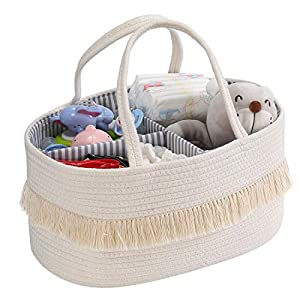 Baby Rope Diaper Caddy Organizer – Nursery Storage Bin Canvas Portable Diaper Storage Basket with Removable Inserts for Changing Table &Car, Newborn Baby Shower Basket