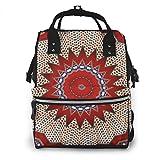 Mochila multifunción, diseño tribal del suroeste de Santa Fe, color rojo, cambiador de pañales, impermeable, gran capacidad