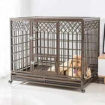Chenils Foyers for Les Animaux Dog Crate |Porte Simple et Double Porte en métal Dog Crates |Cage de Fer avec clôture Toilettes/Chien Cage for Animaux sur Roues (Color : Gray, Size : 95 * 65 * 90cm)