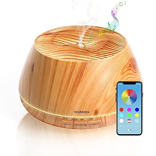 YOUNGDO Aroma Diffuser 400ml, Bluetooth Lautsprecher, APP kabellose Fernbedienung, Nachtlicht, Aromatherapie Maschine, Luftbefeuchter, Raumbefeuchter für Schlafzimmer, Büro, Yoga, Spa (Hügel)