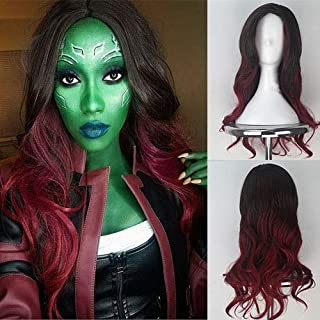Blue Bird Guardians of The Galaxy Gamora Cosplay Wig Long Wavy Dark Roots Ombre Wine Red Wigs with Middle Part Synthetic Curly Hair for Women Daily and Party Use