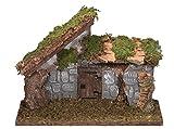 Bertoni leer Holz Krippe Hütte mit Tür und Stein Wand, Holz, Mehrfarbig, 36x 16x 27cm
