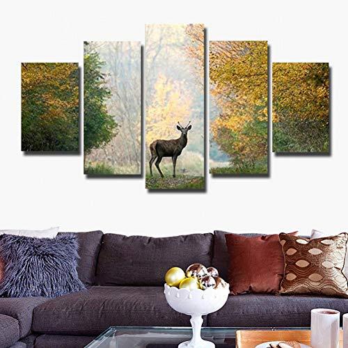 GIAOGE schilderij wandkunst canvas poster decoratie modern 5 panelen Deer Landschap Woonkamer Hd Print Schilderen Modulaire fotolijst No Frame 30 x 50 30 x 70 30 x 80 cm.