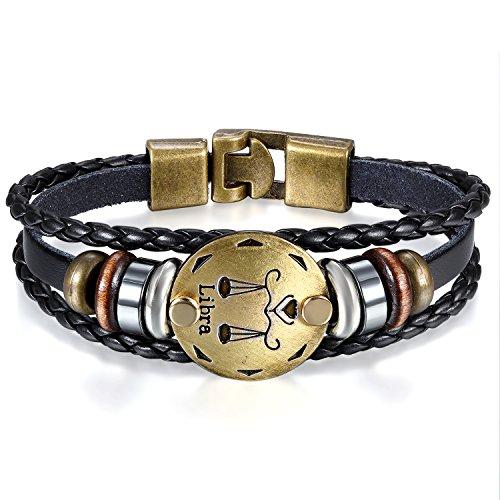 JewelryWe Schmuck Herren Damen Waage Armband, 12 Tierkreis Sternzeichen Horoskop Charms Druckknopf Armreif, Leder Legierung, schwarz
