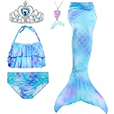 5Pcs Girls Swimsuit Mermaid Tails for Swimming Princess Bikini Bathing Suit Set Can Add Monofin for 4T 6T 8T 10T 12T (6, Sky Blue #2)