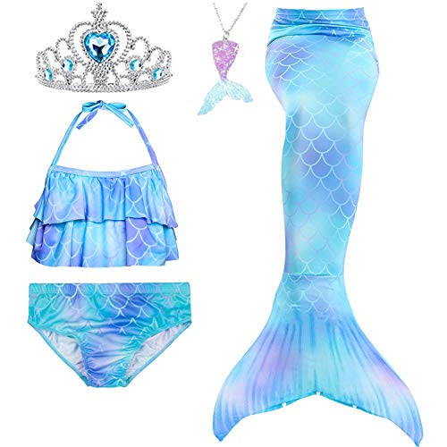 5Pcs Girls Swimsuit Mermaid Tails for Swimming Princess Bikini Bathing Suit Set Can Add Monofin for 4T 6T 8T 10T 12T (10, Sky Blue #2)