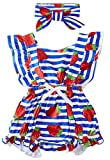 BFUSTYLE Kid Baby Girls Blue White Stripes Playsuit Strawberry Cheap Summer Party Cozy Backless Ruffled Rompers Colthes with Bow First Birthday Gift for Baby Kids 12-18M
