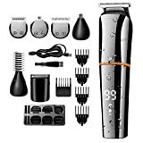 Beard Trimmer for Men,Cordless Hair Clippers Multi-functional Hair Trimmer Set,Hair Cutting Body Mustache Nose Hair Groomer 6 in 1 Grooming Kit Waterproof USB Fast Rechargeable