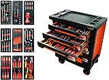 FISCHER DAREX Servante Equipée de 127 Outils avec 9 Modules Orange/Noire