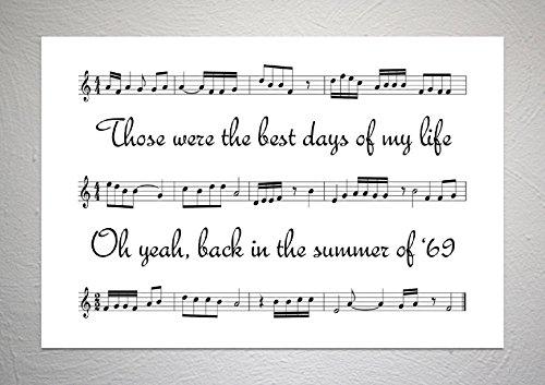 Bryan Adams - Summer Of 69 - Stampa su foglio di canzone, formato A4