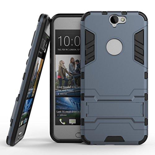 HTC One A9 Hülle, SATURCASE Hybrid 2 In 1 [PC und Silikon] Dual-Layer Stoßstange Tasche Hülle Schutzhülle Handycover mit Kippständer für HTC One A9 Marine