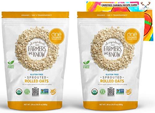 Organic Sprouted Rolled Oats Bundle. Includes Two (2) 24oz Packages of One Degree Organic Foods Gluten-Free Sprouted Rolled Oats and One Authentic Carefree Caribou Chocolate Chip Cookie Recipe Card!