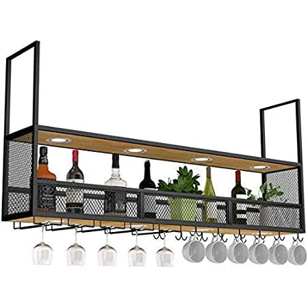 Amoureux du vin Mobilier de bar& Montage mural vin Porte en bois noir/plafond suspendu Porte-bouteille en métal/Cube Porte suspendu bouteille de vin/bois flottant étagères Tablette murale Décora