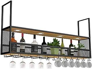 Amoureux du vin Mobilier de bar& Montage mural vin Porte en bois noir/plafond suspendu Porte-bouteille en métal/Cube Porte...